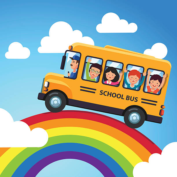 Yellow school bus with driver and kids vector art illustration