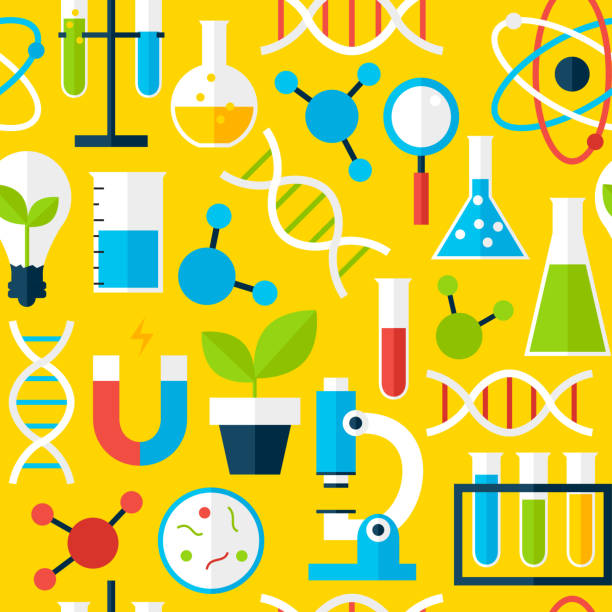 yellow seamless pattern science education - grundschule stock-grafiken, -clipart, -cartoons und -symbole