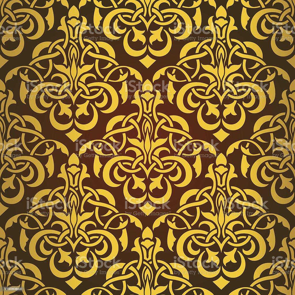 Yellow seamless wallpaper royalty-free stock vector art