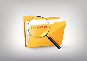 Yellow secret folder icon, magnified glass, transparent vector