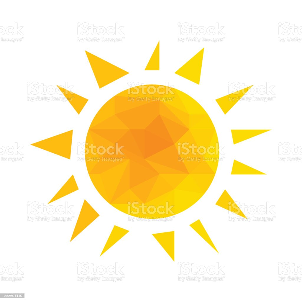 Yellow segmented geometric sun with rays vector. vector art illustration