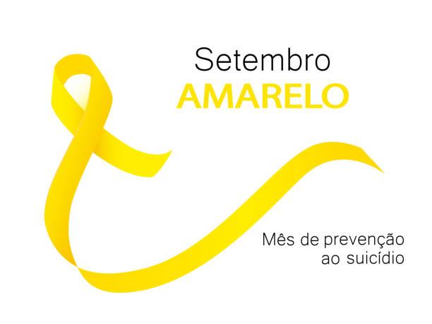 stockillustraties, clipart, cartoons en iconen met gele september zelfmoordpreventie maand in portugese taal - zelfmoord