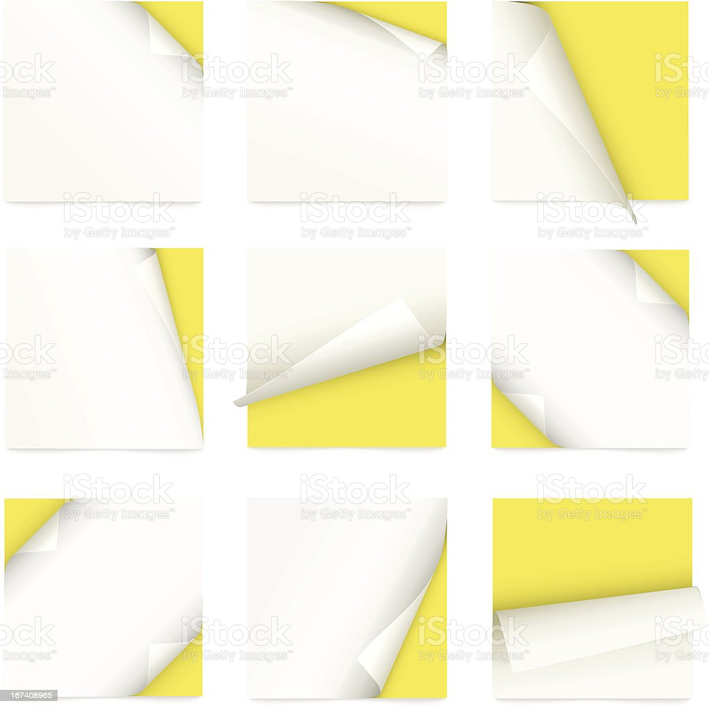 yellow set of note paper with curled corner royalty-free yellow set of note paper with curled corner stock vector art & more images of blank