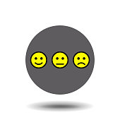 Yellow set of smileys. Smileys emoticons icon positive, neutral and negative, different mood. Vector illustration
