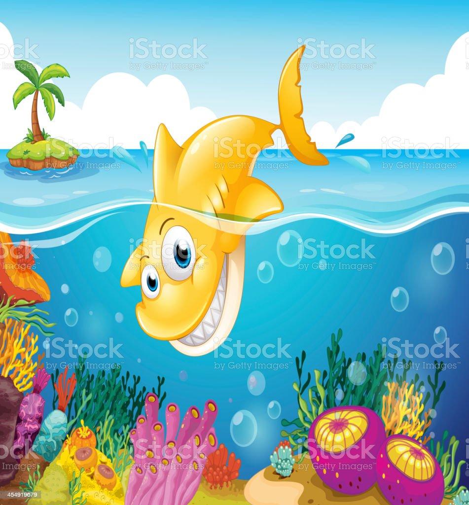 yellow shark diving into the sea vector art illustration