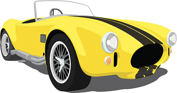 Yellow Shelby Cobra A vector illustration of a classic Shelby Cobra in yellow with black stripes.  Saved in layers for easy editing.  convertible stock illustrations
