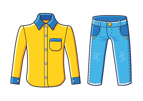 Yellow shirt and blue jeans pants