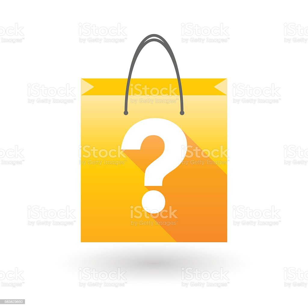 Yellow shopping bag icon with a question sign vector art illustration