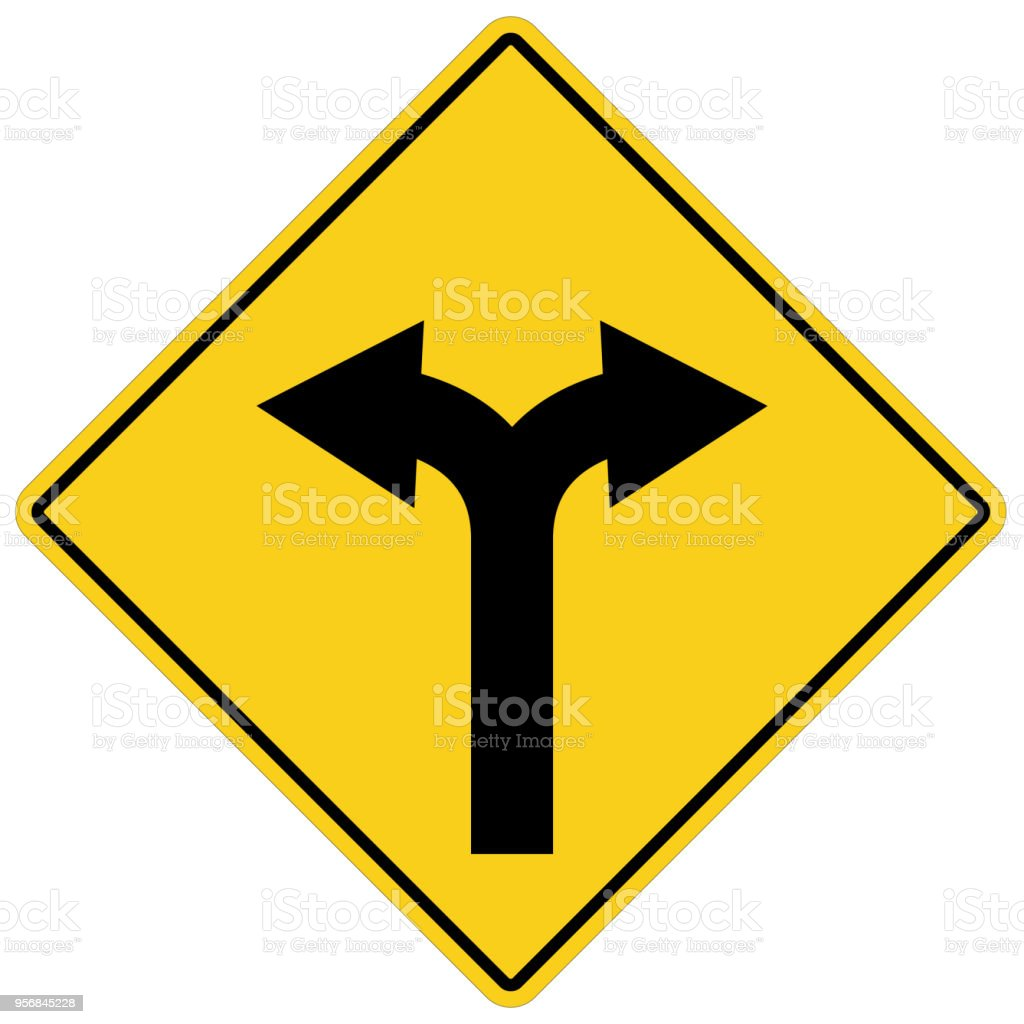 yellow sign with two arrows fork road yellow warning symbol two