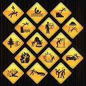 15 road sign icons representing different accidents.
