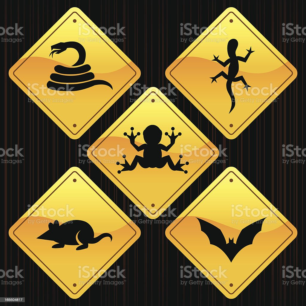 Yellow Signs - Animals royalty-free yellow signs animals stock vector art & more images of animal