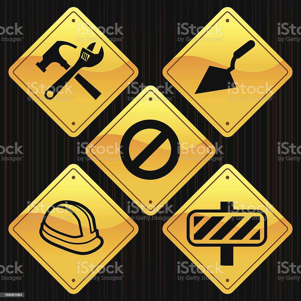 Yellow Signs - Construction royalty-free stock vector art