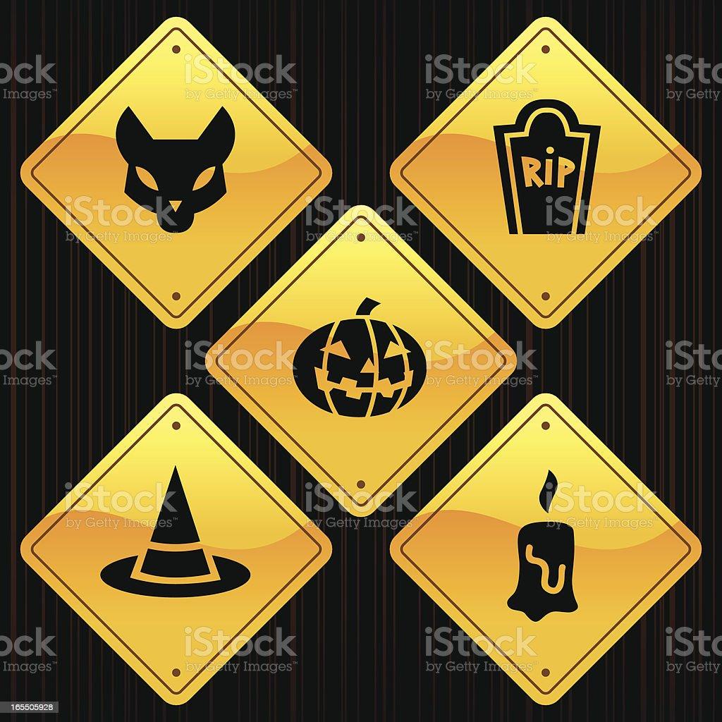 Yellow Signs - Halloween royalty-free stock vector art