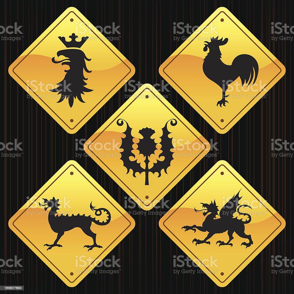 Yellow Signs - Heraldic Animals royalty-free stock vector art