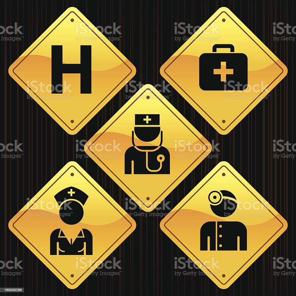 Yellow Signs - Hospital royalty-free stock vector art