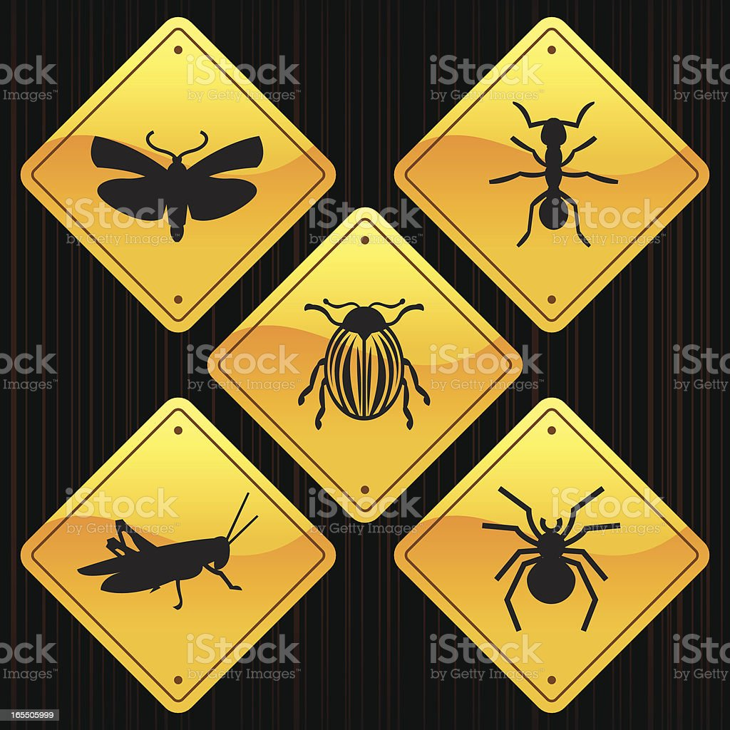 Yellow Signs - Insects royalty-free yellow signs insects stock vector art & more images of ant