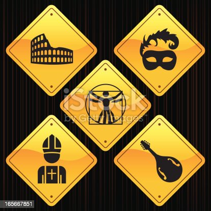 5 road sign icons related to Italy.
