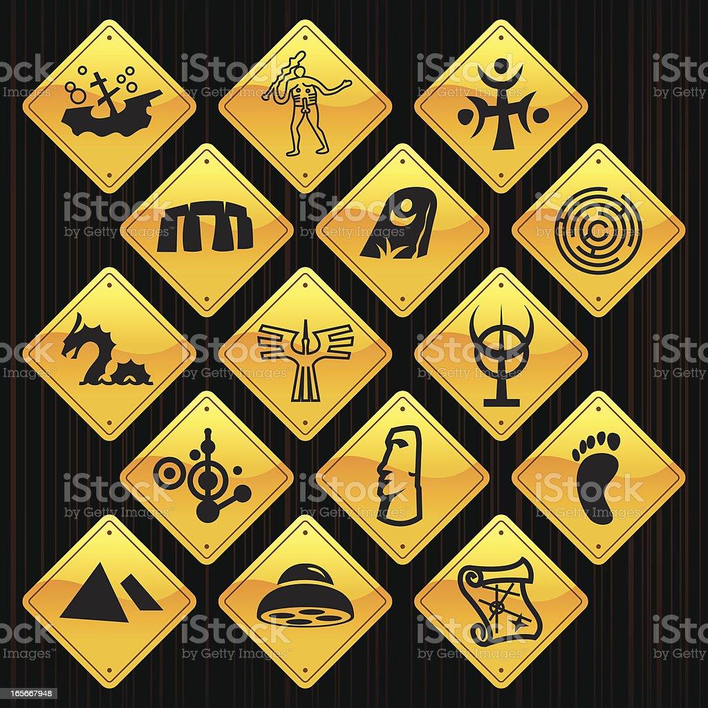 Yellow Signs - Mysteries vector art illustration