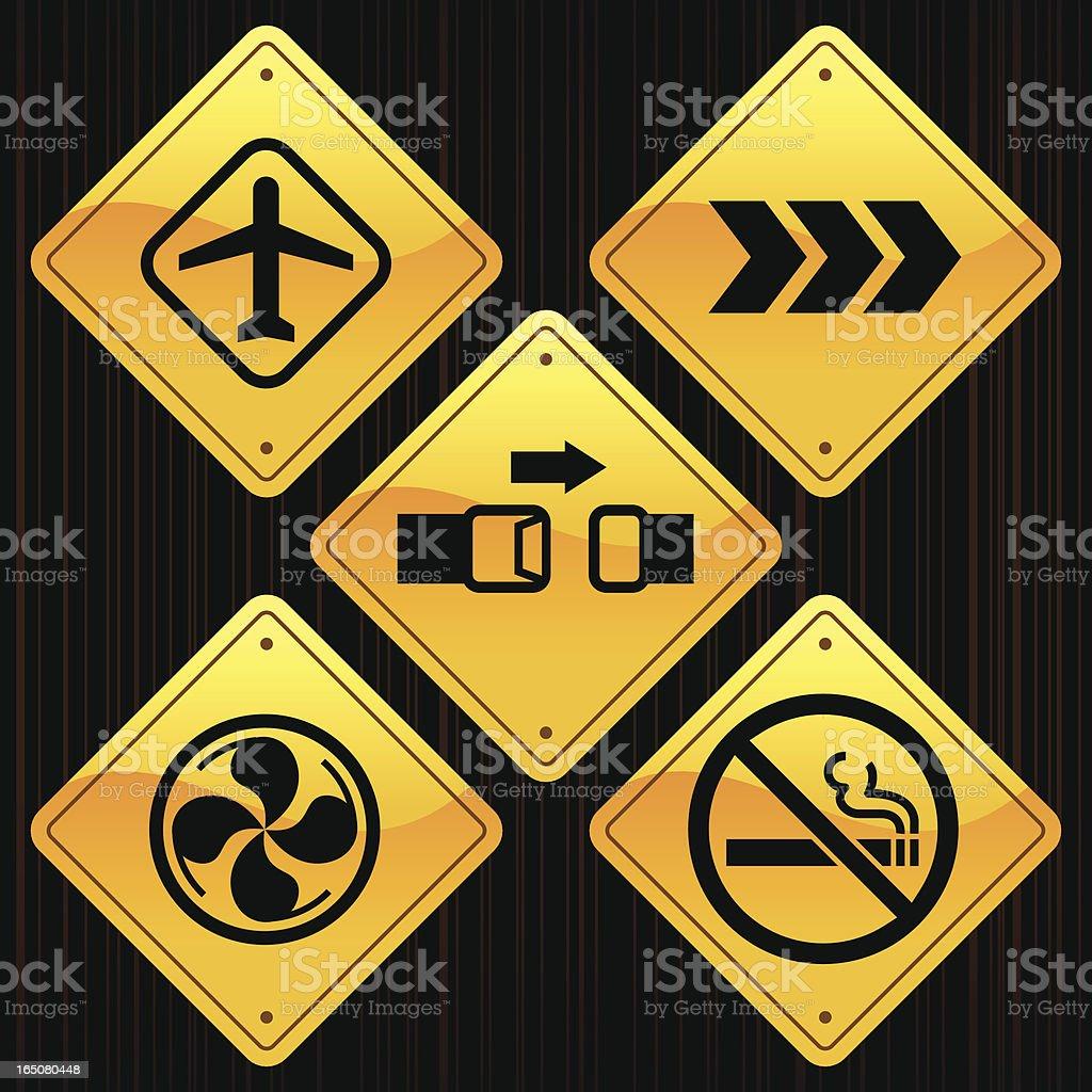 Yellow Signs - Plane Travel vector art illustration