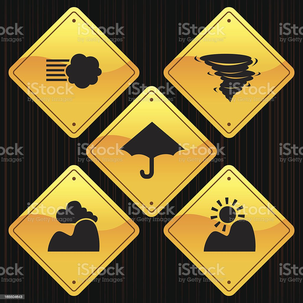 Yellow Signs - Weather royalty-free yellow signs weather stock vector art & more images of back lit