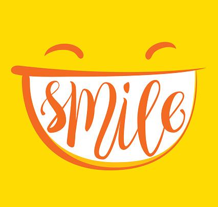 Gelbe Lächeln Poster Stock Vektor Art und mehr Bilder von Abstrakt