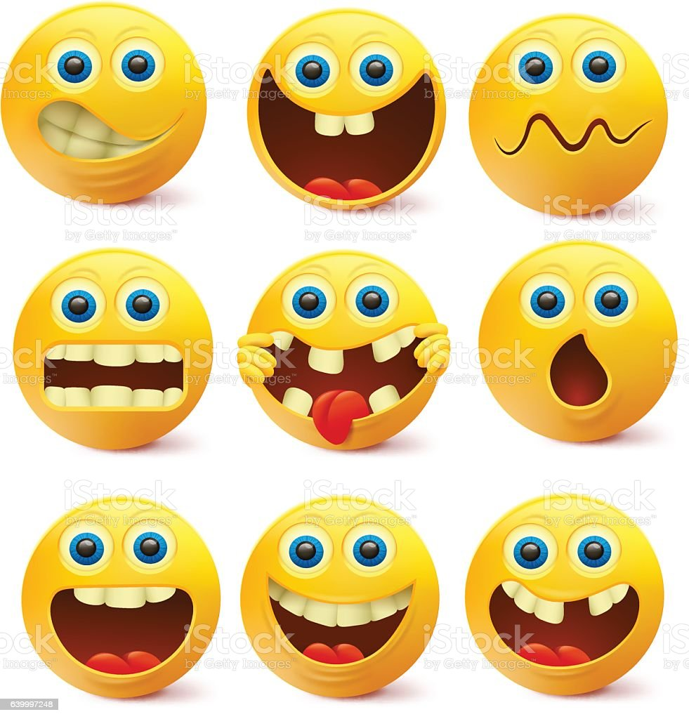 yellow smiley faces emoji characters template stock vector art