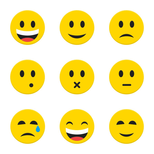 yellow smiley faces over white - tears of joy emoji stock illustrations