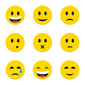 Yellow Smiley Faces over White
