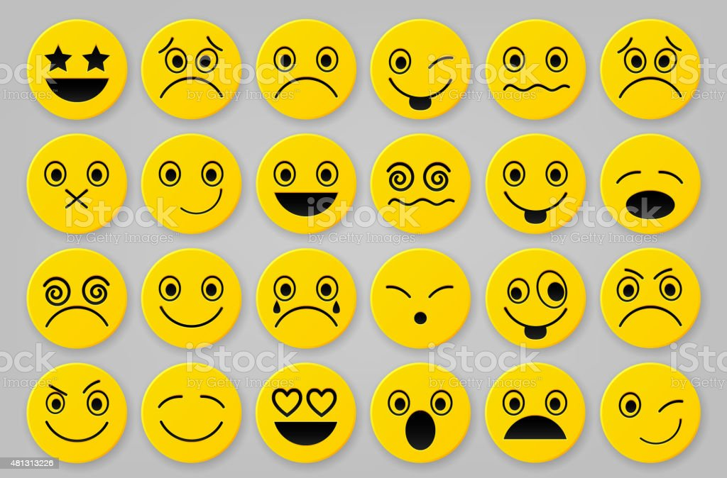 Gelben smiley icon-sets – Vektorgrafik
