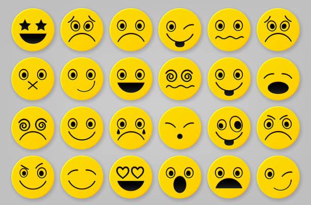ilustraciones, imágenes clip art, dibujos animados e iconos de stock de amarillo smiley conjuntos de iconos - emoji celoso