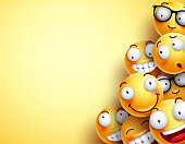Yellow smileys vector background. Emoticons or smileys with funny and happy facial expressions in yellow blank space background for text or presentation. Vector illustration.