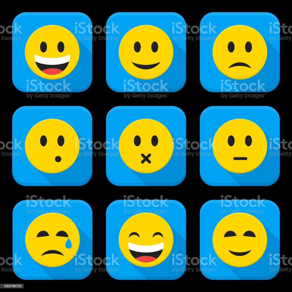 yellow smiling faces squared app icon set stock vector art more