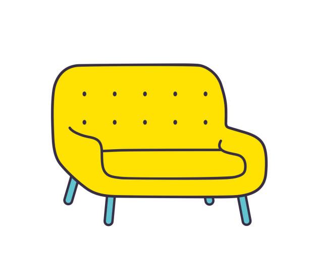 gelbe sofa - stuhllehnen stock-grafiken, -clipart, -cartoons und -symbole