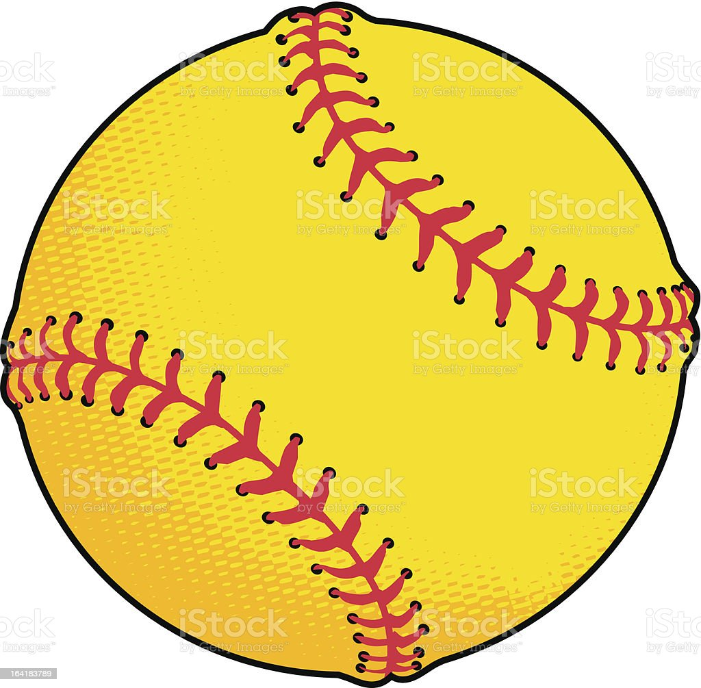 Yellow Softball vector art illustration