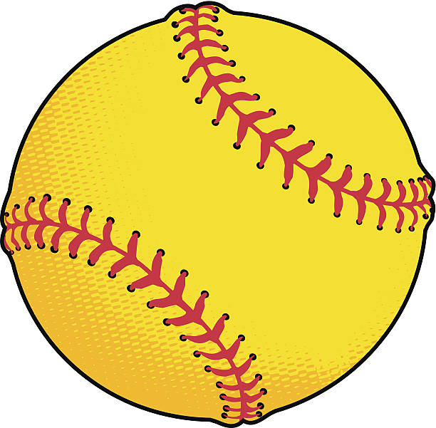 yellow softball - softball stock illustrations, clip art, cartoons, & icons