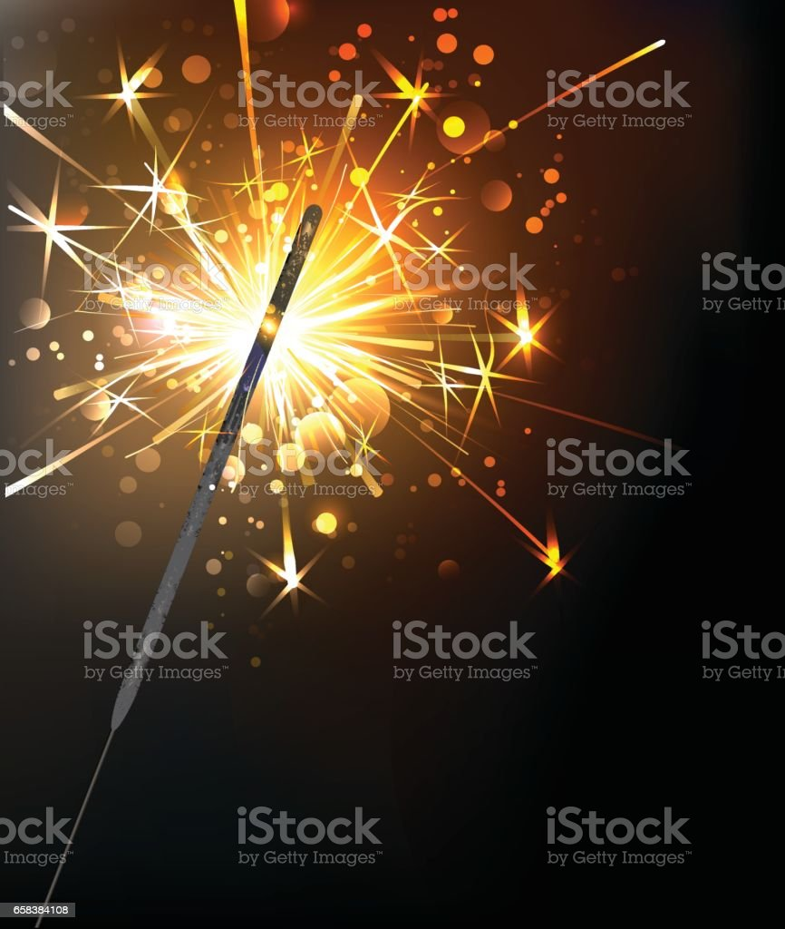 yellow sparkler vector art illustration