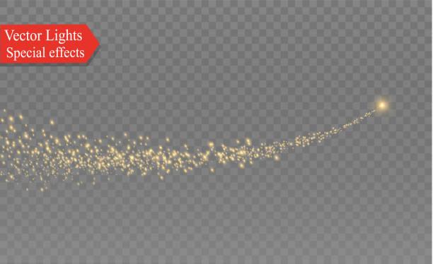 gelben funken und sterne glänzen mit speziellem licht. funkelnde magische staubpartikel. die wirkung von blendenflecken fackel mit einem strahl von licht und magischen glanz. ein komet am himmel - magie stock-grafiken, -clipart, -cartoons und -symbole