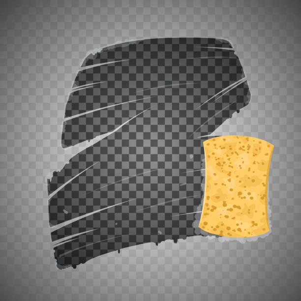 ilustrações de stock, clip art, desenhos animados e ícones de yellow sponge wiping glass. transparent background. - esponja