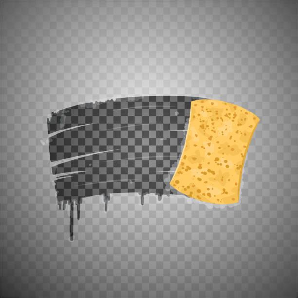 ilustrações de stock, clip art, desenhos animados e ícones de yellow sponge wiping glass. - esponja