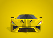 Yellow sport car on yellow background - polygonal style.
