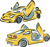 Yellow sport car with lamba doors for your design