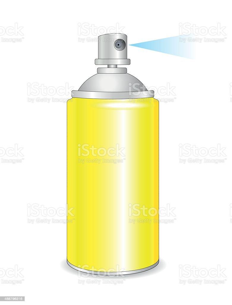 Yellow spray bottle, vector art illustration