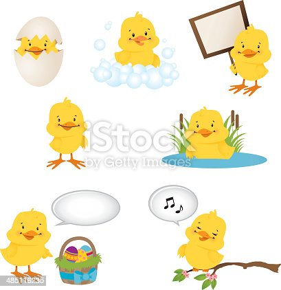 A vector illustration of yellow chicks. Each bird is on a separate layer for easier editing. AI and PDF files are also included.