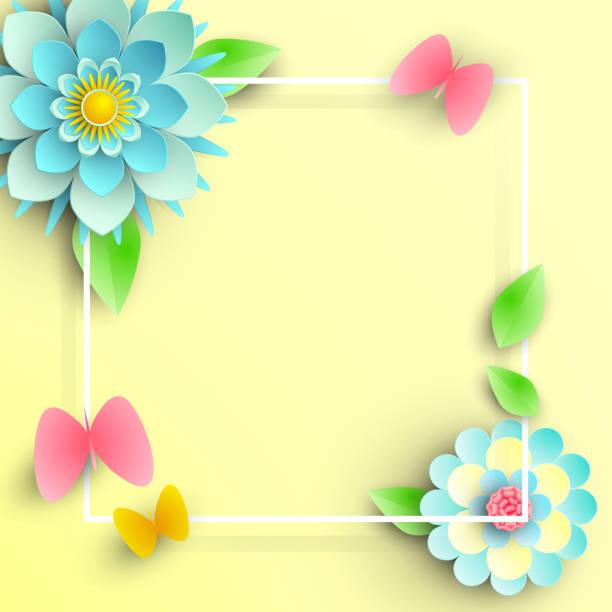 gelben quadratischen hintergrund mit blauen blumen und schmetterlingen. - pastellgelb stock-grafiken, -clipart, -cartoons und -symbole