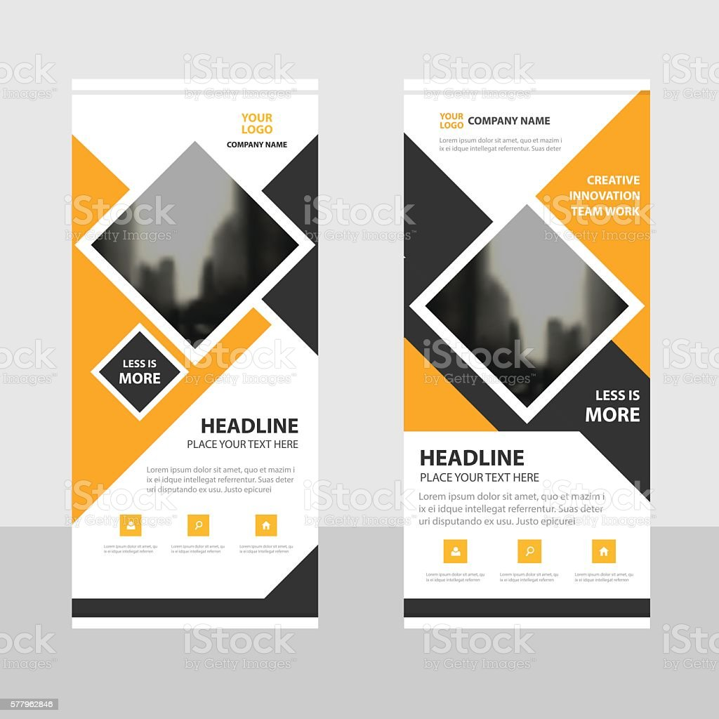 Yellow square Business Roll Up Banner flat design template Abstract vector art illustration