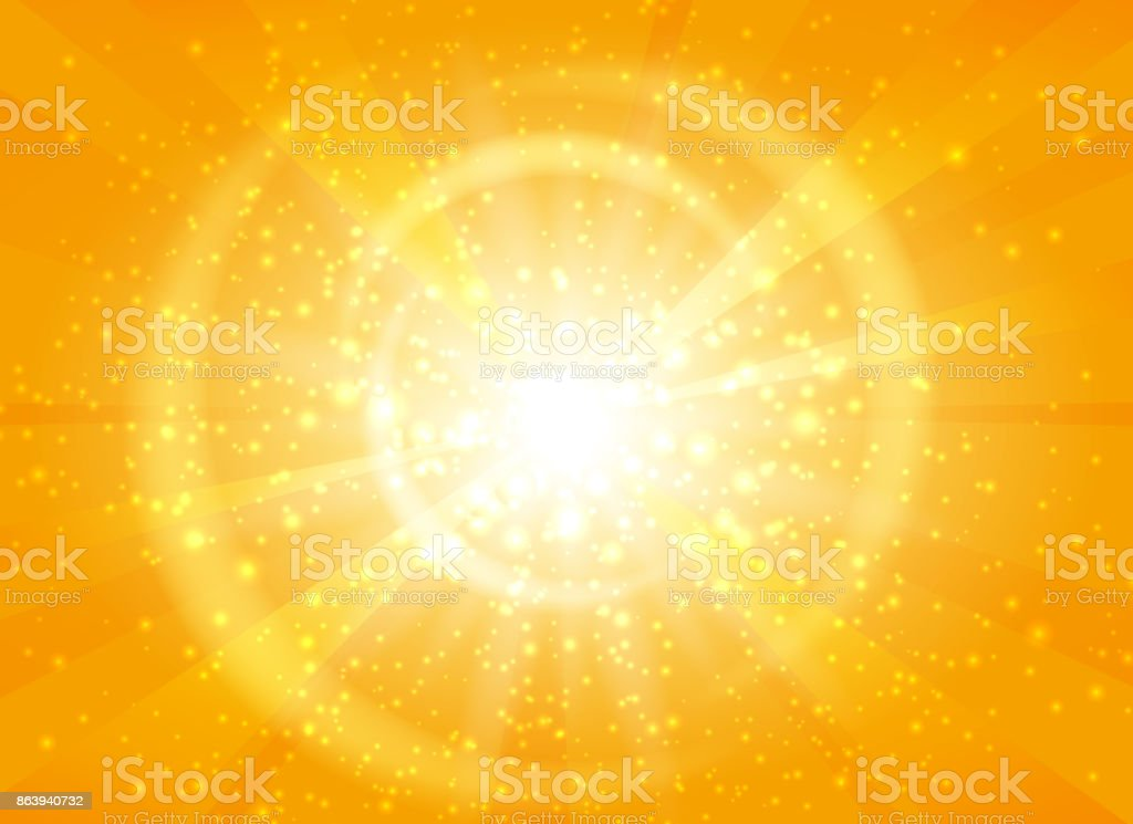 Yellow starburst background with sparkles vector art illustration