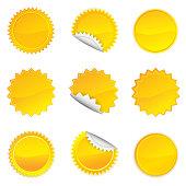 Yellow Starbursts Set,  Illustration Vector 10