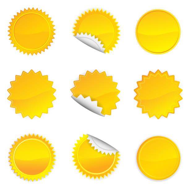 Starbursts jaune ensemble, vecteur Illustration 10 - Illustration vectorielle