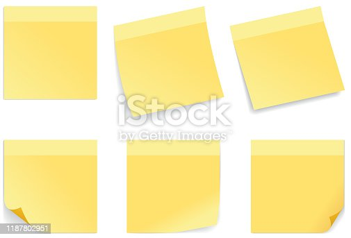 Vector illustration of  yellow stick note isolated on white background.