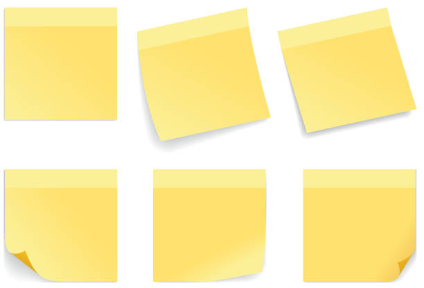 illustrazioni stock, clip art, cartoni animati e icone di tendenza di yellow stick note - post it